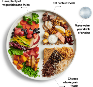 Canadian food guide recommended portions of 1/2 plate vegetables/fruits, 1/4 plate protein, 1/4 plate whole grains